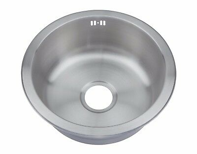 Inset Kitchen Sink Small Round One 1.0 Bowl Brushed Stainless Steel  M07 bs