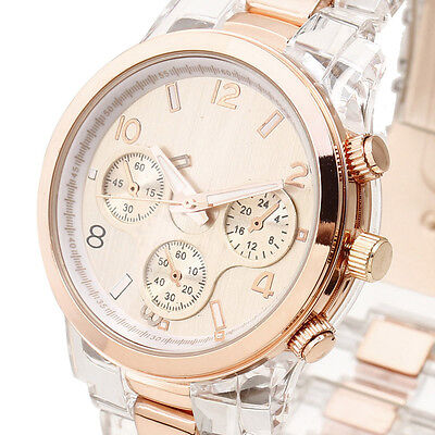 NEW FANCY Women Quartz Wrist Watch Rose Golden Watch Face Crown 3 Hands Resin