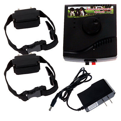 waterproof 2 Dog Electric Shock Containment Pet dog Fence System collars Safe