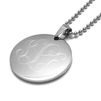 Stainless Steel Personalized Round Circle Pendant Necklace - Free Engraving