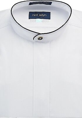 NWT. Men's Banded Collar Dress Shirt with Black Piping. Sizes XS - 5XL.