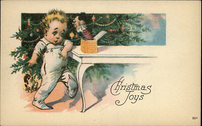 Christmas Child Plays w Jack in the Box c1910 Postcard