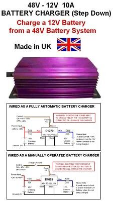 BATTERY CHARGER 48V to 12V STEP DOWN DC-DC 10AMP / 120W, 48V-12V Battery Charger