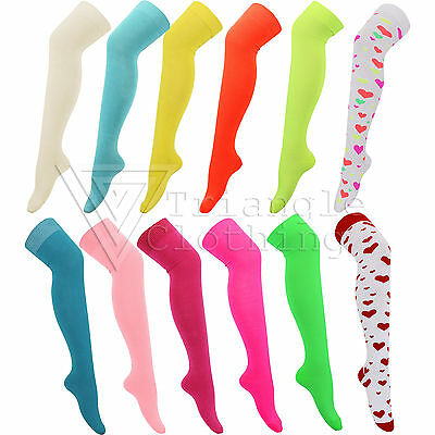 Ladies Womens Neon Bright Coloured Cotton Socks Over The Knee Length Pink Yellow