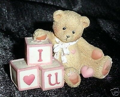 CHERISHED TEDDIES W/ BLOCKS i LOVE U TINY ENESCO