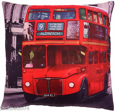 "Superb  Red London Hyde Park Trafalgar Big Bus Cushion Cover 17"" X 17"""