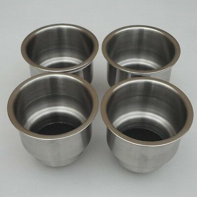 (4pcs) Stainless Steel Cup Drink Holder Marine Boat RV Camper Durable