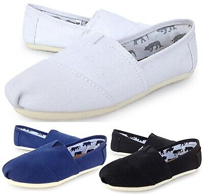 Womens Ladies Flat Slip On Espadrilles Pumps Canvas Plimsoles Shoes Size 3 - 8
