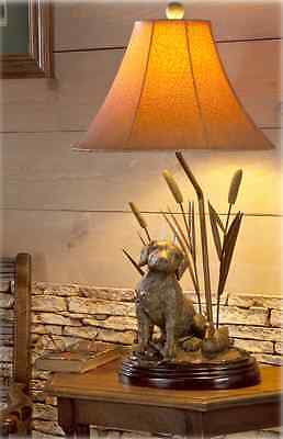 Labrador Dog Decoy Duck & Cattail Table Lamp Hunting Lab Retriever Rustic Light