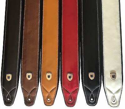 Genuine Leather Soft Padded SUPREME Guitar Strap for  Electric, Acoustic & Bass