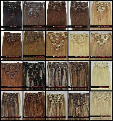 """15""""18""""20""""22""""Real Remy Clip In Human Hair Extensions 70G/80G 20 colours Full Head"""
