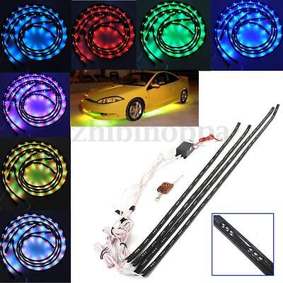 4pcs 7 Color 252 LED Under Car Glow Neon Light Strip Kit Wireless Remote Control