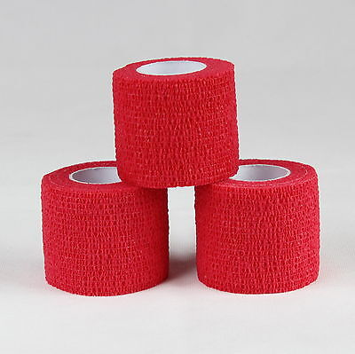 Red Cohesive Elastic Bandage Head Sports Vet Wrap Equine 6 Rolls 5.0 cm x 4.5m