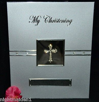 My Christening  - Diamante Cross -  Silver Deluxe Photo Album