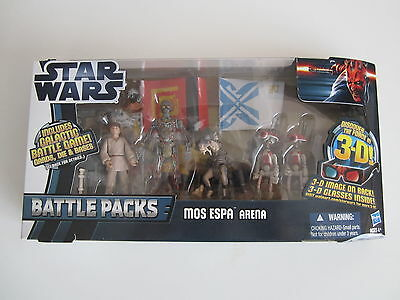 Hasbro Star Wars Battle Packs MOS ESPA Arena mit 3D-Brille 5 Figuren Neu & OVP