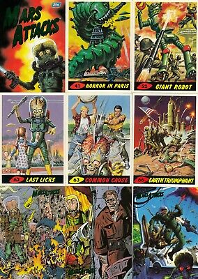 Mars Attacks 1994 Topps Complete Base Card Set Of 100 Numbered 0 To 99 Sf