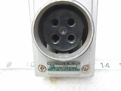 Russell-Stoll 3754 20A/600VAC 30A/250VDC Pin & Sleeve Receptacle, Used