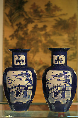 RARE Pair of Chinese Antique Blue & White Vase Officially Marked Wax Seal Stamp