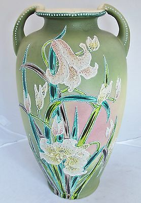 "16.2"" Beautiful Antique Meiji Period Green Japanese Vase w/ Morriage Flowers"