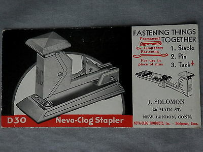 Advertising Blotter NEVA-CLOG STAPLER Bridgeport Conn J SOLOMON New London Conn