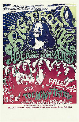 Janis Joplin Poster 1969 NEW Big Brother & the Holding Company Concert Handbill
