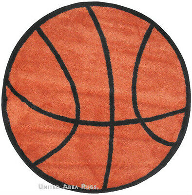 """3x3  Sport  Round  Rug  Basketball  with  Non Skid Backing Ball  Size 39""""  New"""