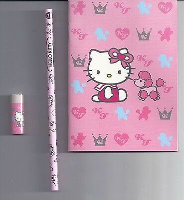 Sanrio Hello Kitty Notebook KT Crown Poodle With Pencil And Eraser