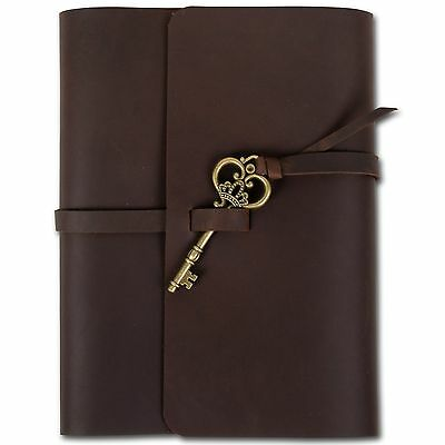 Ancicraft Refillable Leather Journal With Key A5 Cover Lined Diary Handmade Gift