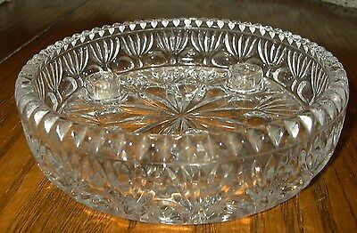 Vintage pressed glass taper candle holder bowl clear sawtooth edge beautiful