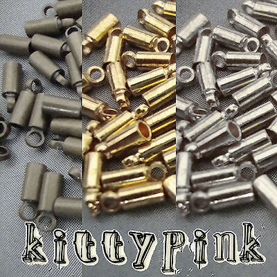 50 Round Cord End Caps Bail 8x2.5mm Tips 1.5mm Choose Silver Gold Antique Bronze