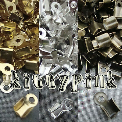 500 Cord End Crimp Caps Bail Tips 9x4x3.6mm Choose Silver Gold Antique Bronze
