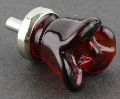 Ruby Red Glass Flower Rose Cabinet Knob Drawer Pull 2
