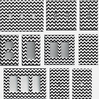 Black & White Chevron Zig Zag Hand Made Light Switch Plates & Wall Outlet Covers