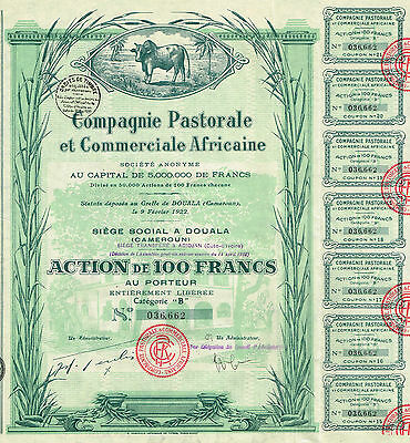 AFRICA CAMEROON PASTORAL & COMMERCIAL COMPANY stock certificate 1922