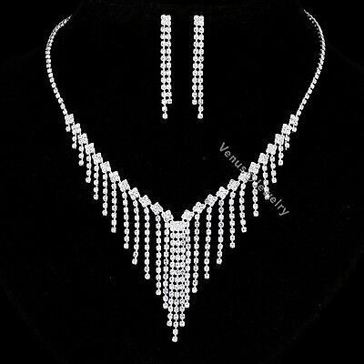 Bridal Wedding Jewelry Prom Rhinestone Crystal Necklace Earrings Set N320