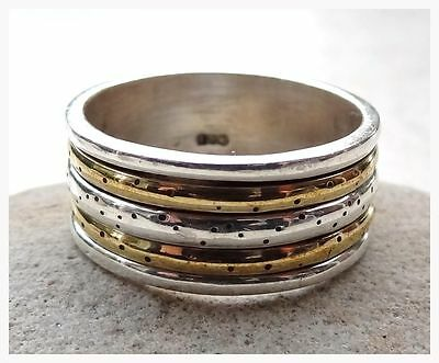 GENUINE 925 Solid Sterling Silver & Copper RING SIZE T 1/2 ~ US 10
