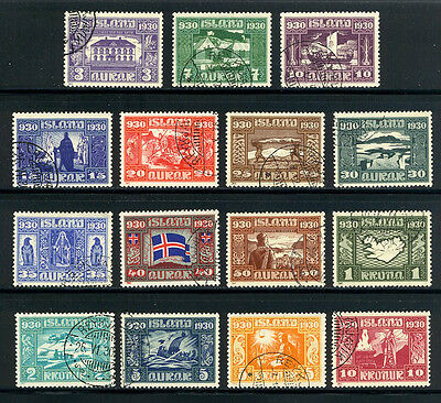 ICELAND #152-66 Used - 1930 Parliament Set