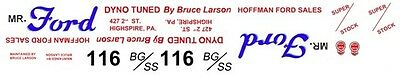 Bruce Larson Mr. Ford 1962-63 Ford Drag NHRA 1/25th - 1/24th Scale Decals