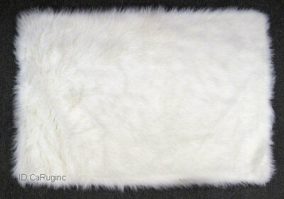 "3x5 Rug Shaggy Fluffy Flokati  SHAG Solid White 3 inch Thick  3'3""x4'10""  New"