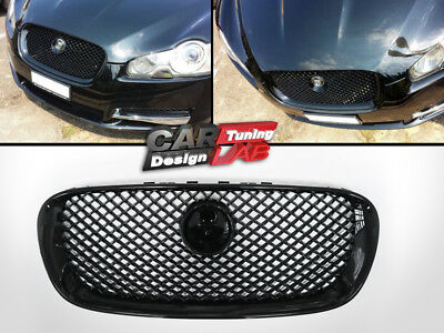 2009 Jaguar XF Glossy Black Front Replacement  Grill Grille XF-R Style