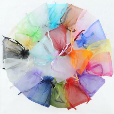 Gift Bags Plain Organza Jewelry Drawstring Candy Pouches For Wedding Xmas 100Pcs