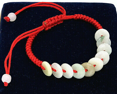 Feng Shui  Jade Chinese ten coins bracelet with adjustable string for Wealth