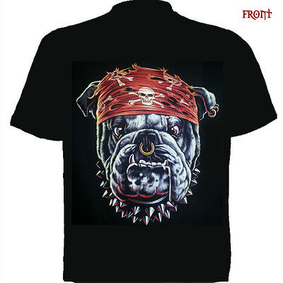 Bulldog short sleeve Kids Sizes t shirt/wild/Biker/tattoo/front and back print