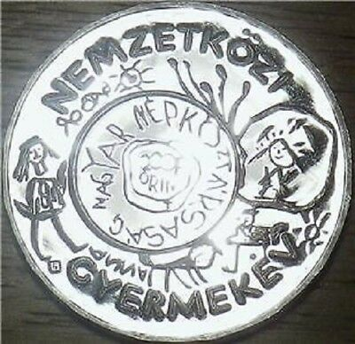 1979 Hungary SILVER 200 Forint - LARGE PROOF UNICEF COIN - 38mm (21000 pc) .X666