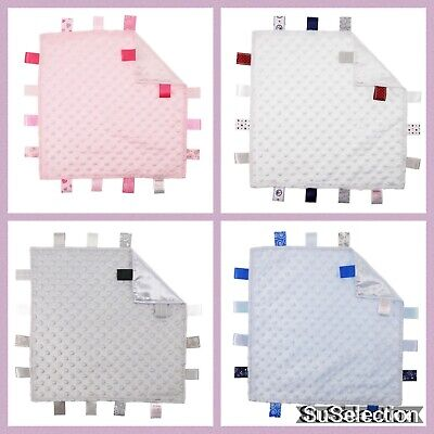 Soft Touch Baby Comforter Blanket Boy Girl Taggy-Blue/White/Grey Or Pink - New