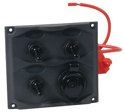 Marine 3-Gang Switch Panel Water Resistant, 20A Switch W/15A Fuse