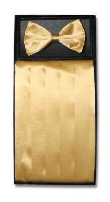 SILK Cumberbund & BowTie Solid GOLD Color Men's Cummerbund Bow Tie Set