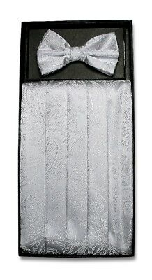 Cumberbund & BowTie SILVER GRAY PAISLEY Color Men's Grey Cummerbund Bow Tie Set