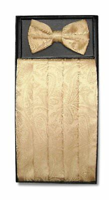 Cumberbund & BowTie GOLD Color PAISLEY Design Men's Cummerbund Bow Tie Set