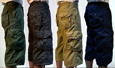"Mens Military-Style 100% Cotton 19"" Cargo Capri Sizes: 30 - 44"